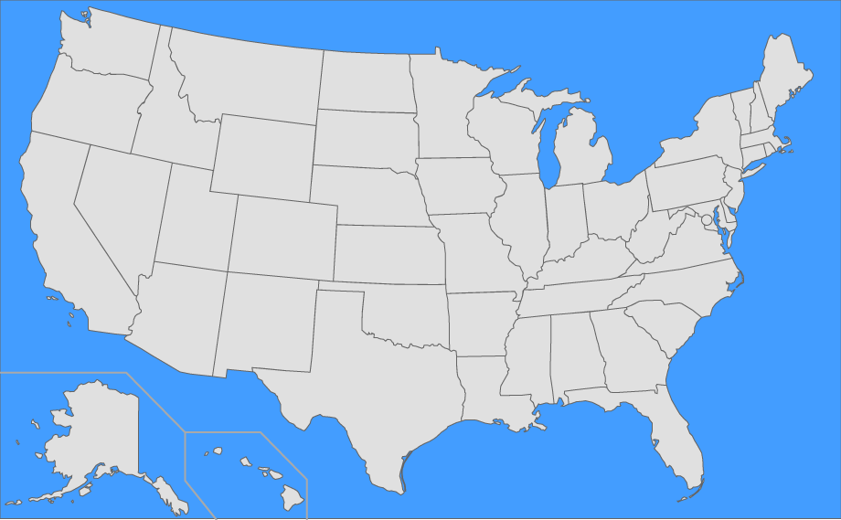 A Map Of The United States Of America.Find The Us States Quiz