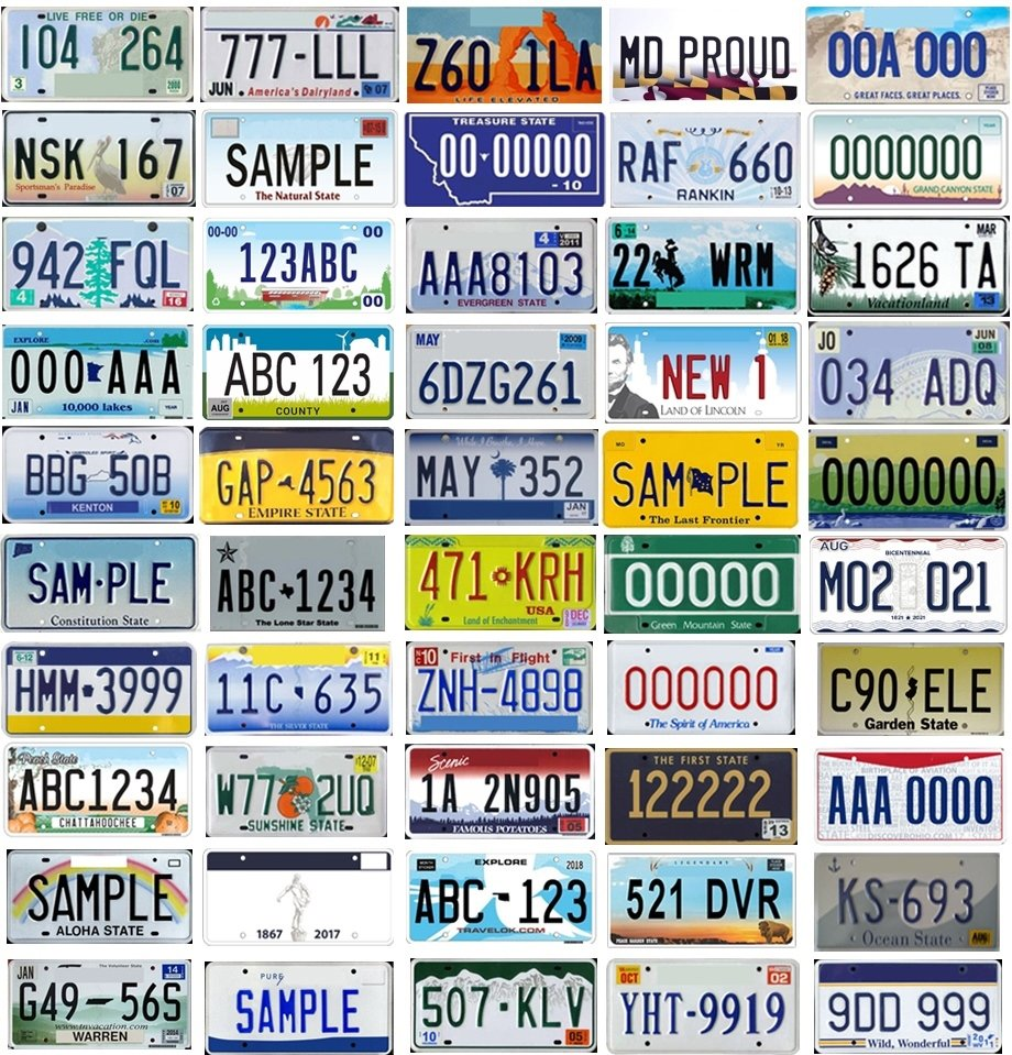 50 States, 50 Plates Quiz
