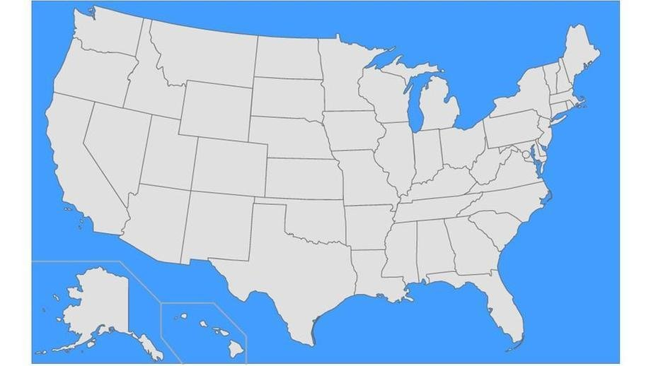 US States Without Their Capital\'s Letters on a Map Quiz