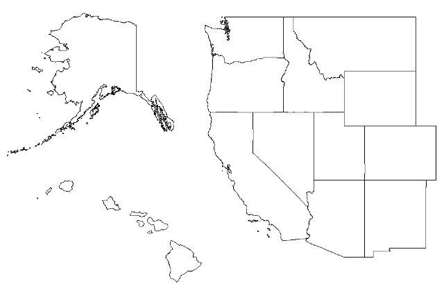 Us Western Region Blank Map Identify the Western States Quiz