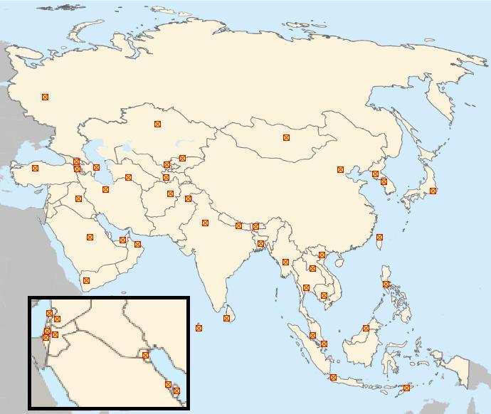 Minefield Map: Asian Capitals Quiz